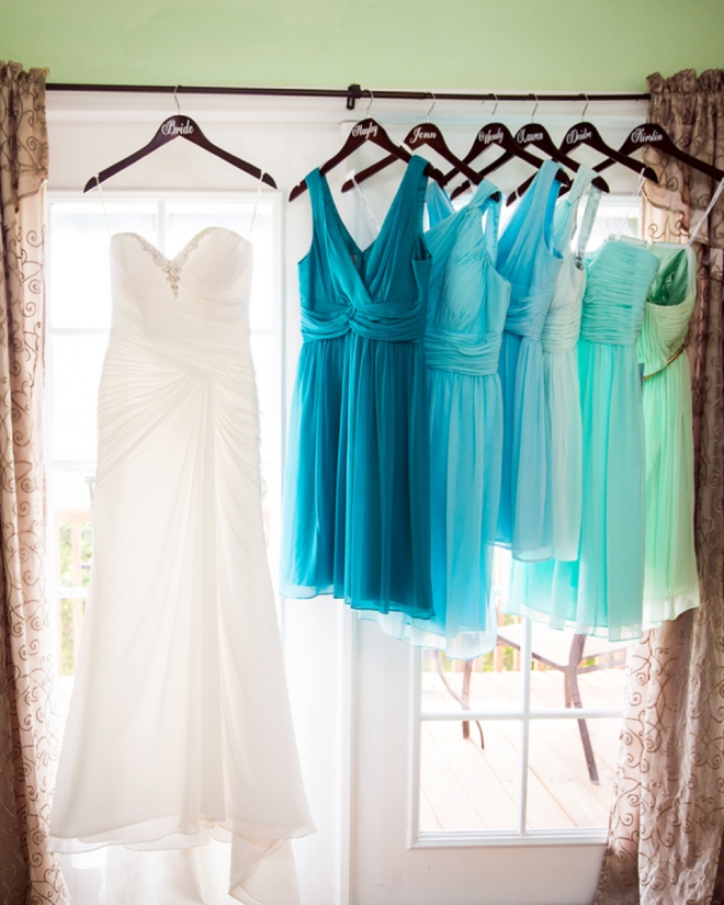 Wedding dress and turquoise bridesmaid dresses