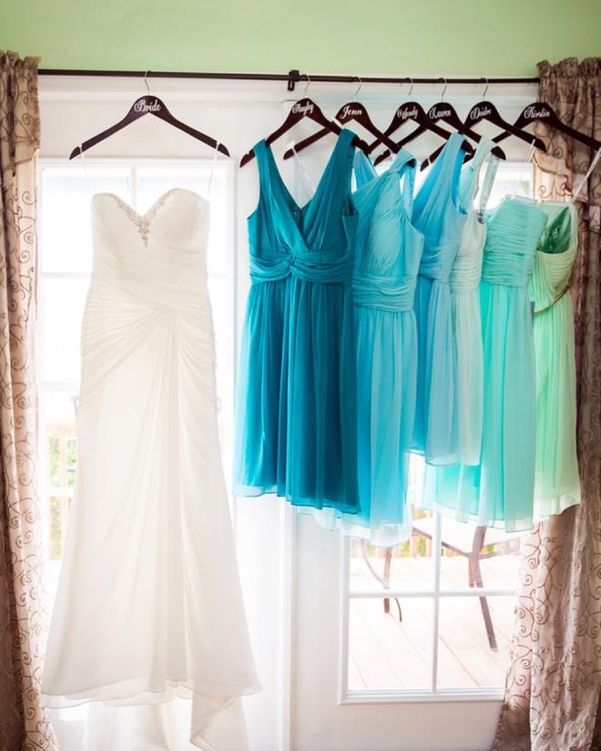 Wedding dress and turquoise bridesmaid dresses