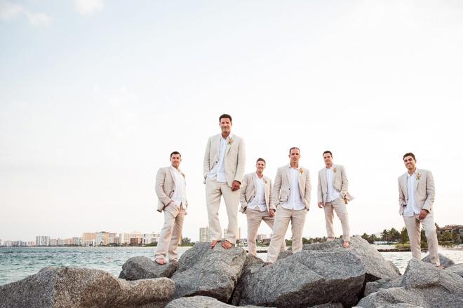 Beach groom and his men