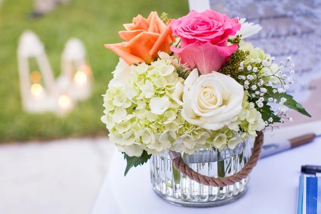 Flowers in mercury glass jar