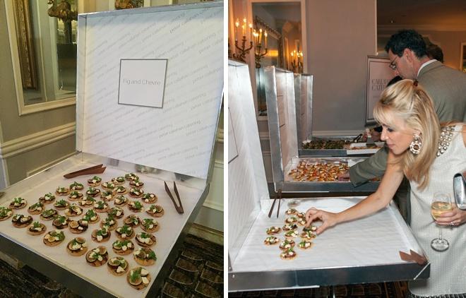 Mini pizzas at martha stewart weddings party 2014