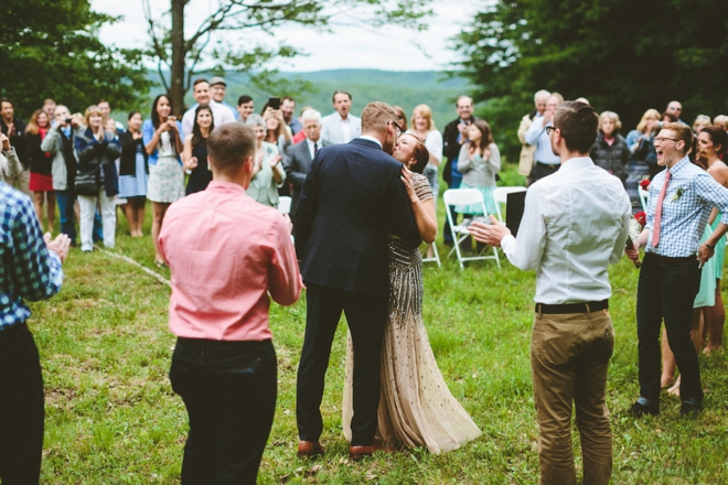 Rustic mountain wedding ceremony