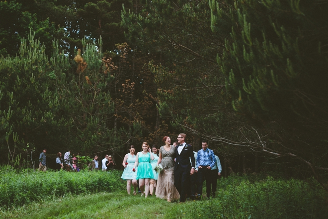 Rustic mountain wedding parade