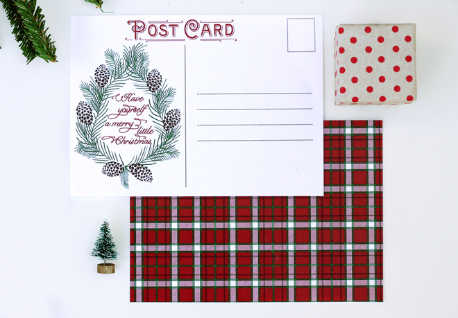 Printable Christmas Postcard