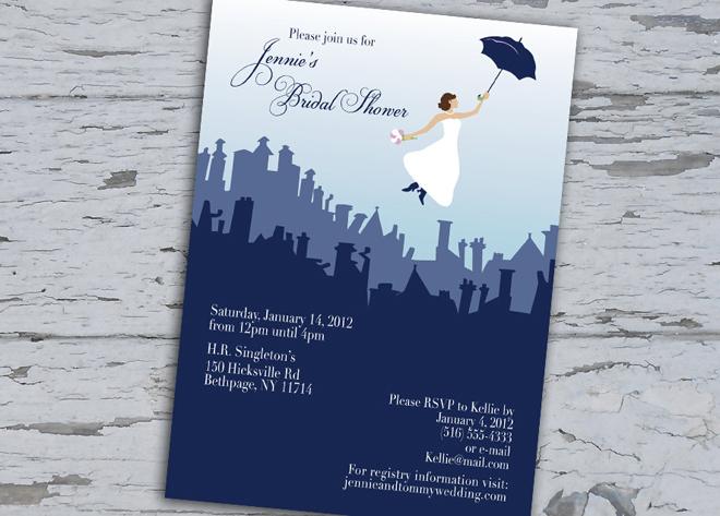 Mary Poppins bridal shower invitation