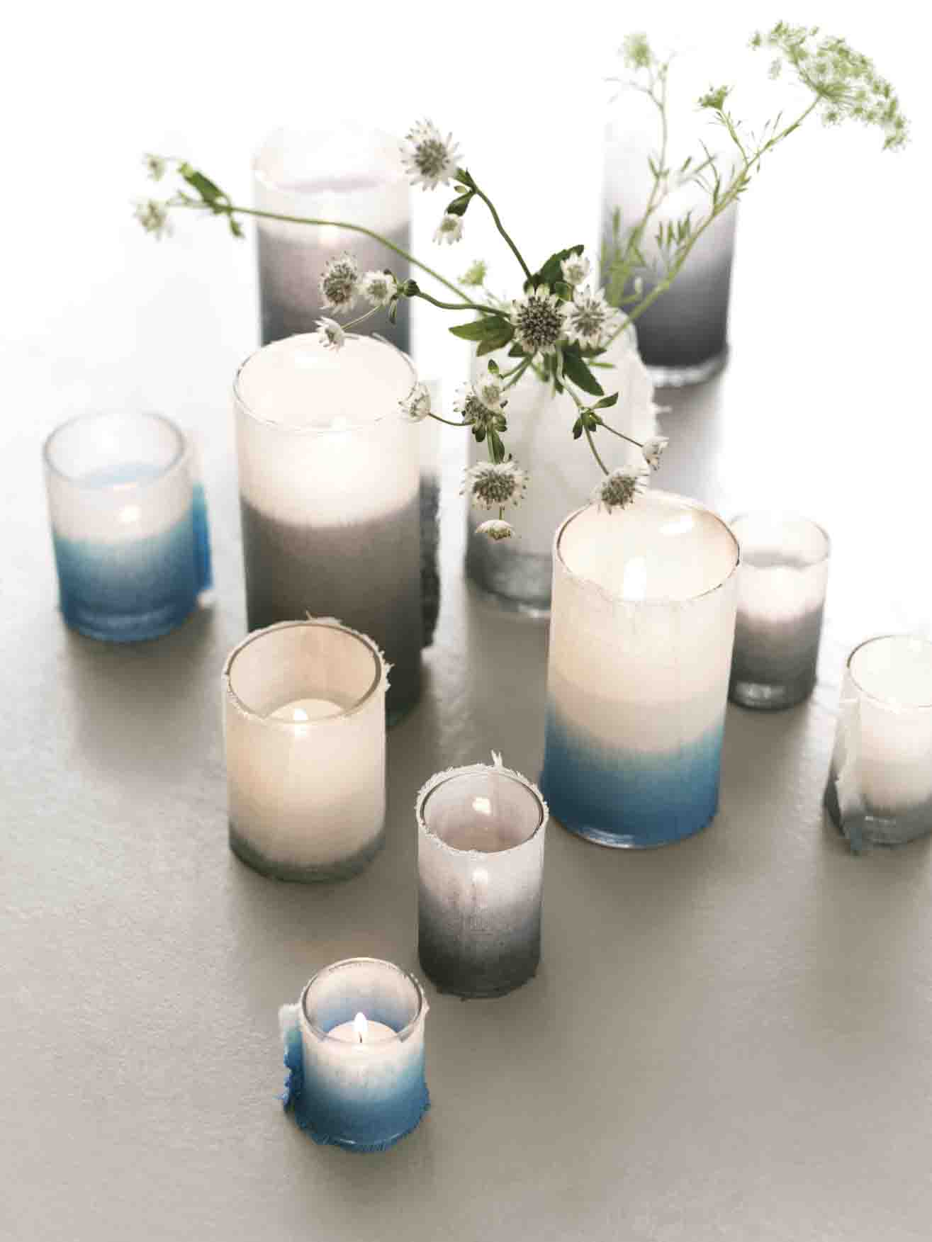 Dip dyed canvas candle sleeves from Martha Stewart Weddings