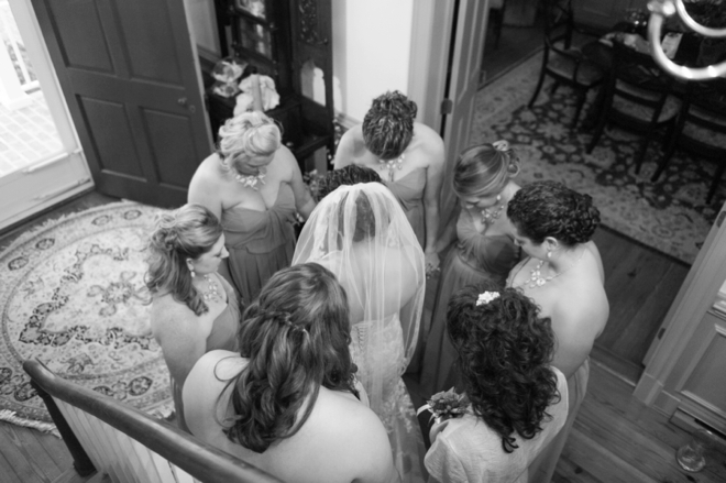 Saying a prayer before the walk down the aisle