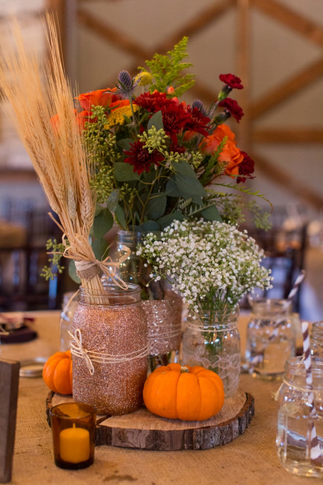 Chad and brandi planned a beautifully diy ed fall wedding glitter mason jar fall wedding centerpiece junglespirit Image collections