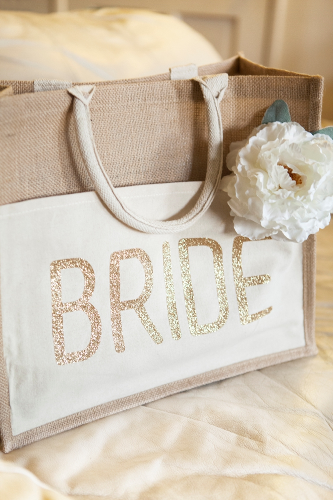 DIY Wedding - How to customize a tote bag with glitter iron-on material!