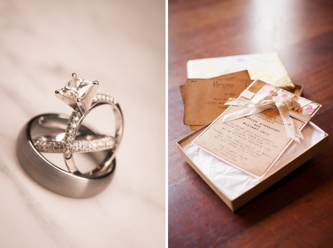 wedding rings and invitatons
