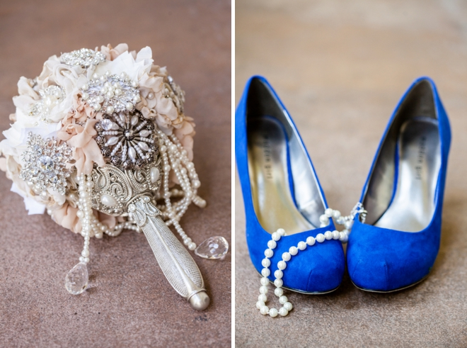 Broach bouquet and blue wedding shoes