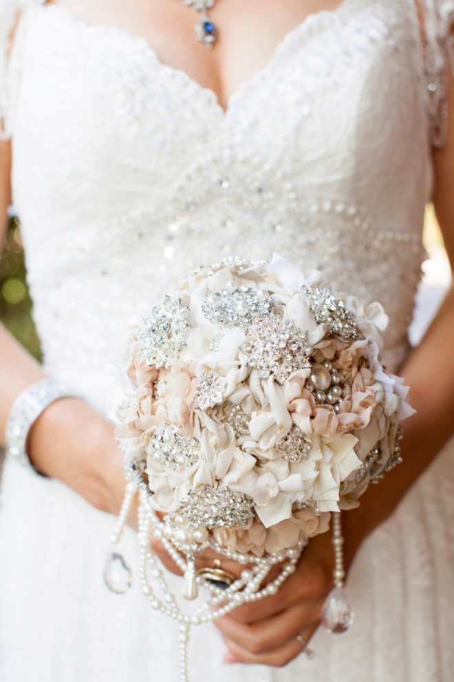 Handmade flowers and broach wedding bouquet