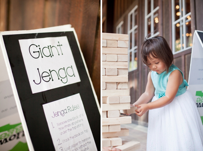 Giant Jenga at the wedding