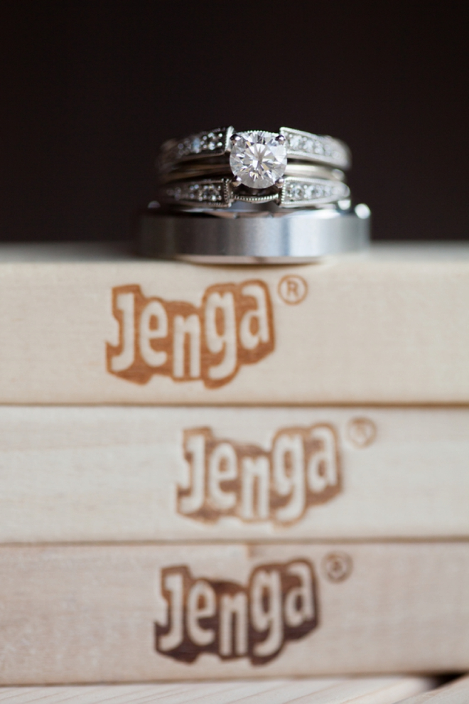 Wedding rings on top of Jenga