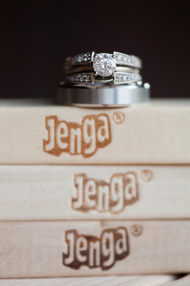Wedding rings on top of Jenga