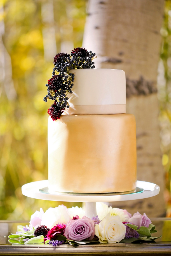 Smooth metallic wedding cake, perfect for fall