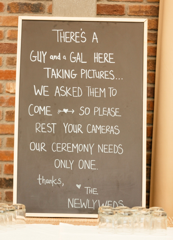 """Unplugged"" wedding sign"