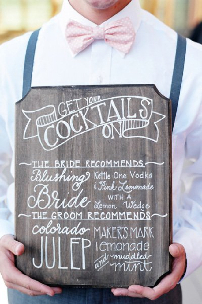 Chalkboard cocktail board