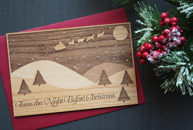 Custom wood holiday cards