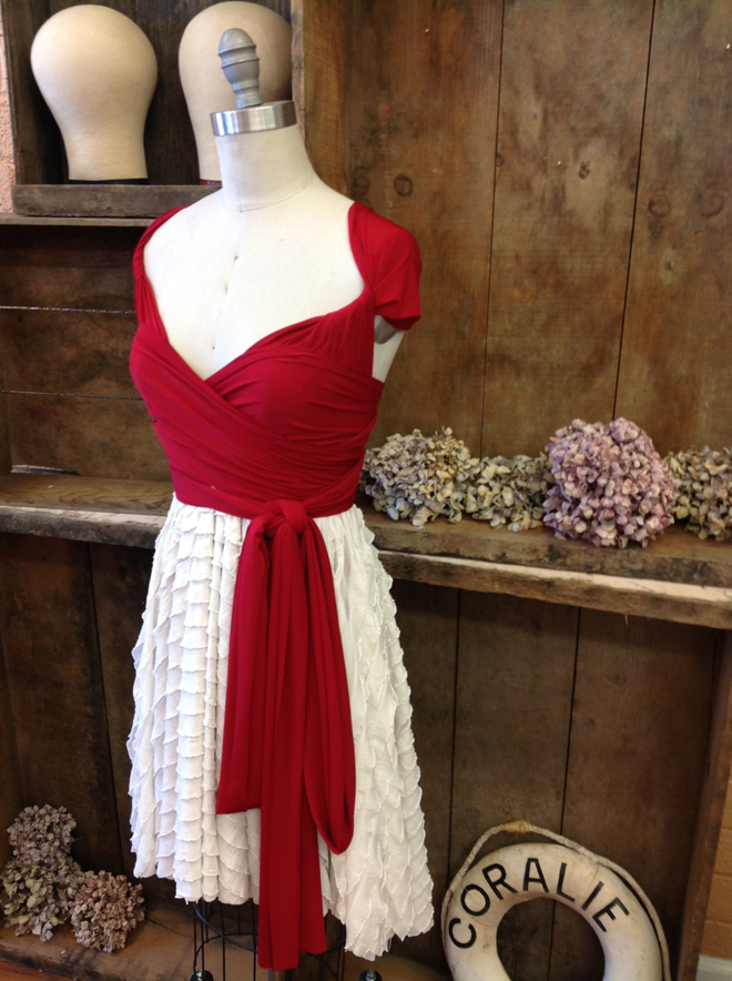 Red and white wrap dress, Coralie Beatrix via Etsy