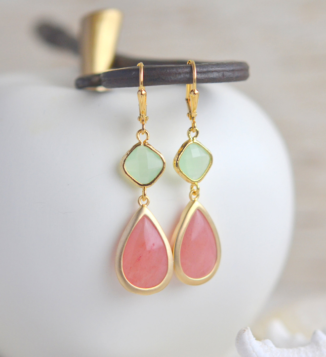 Bridesmaid Jewel Earrings in Coral Pink Mint