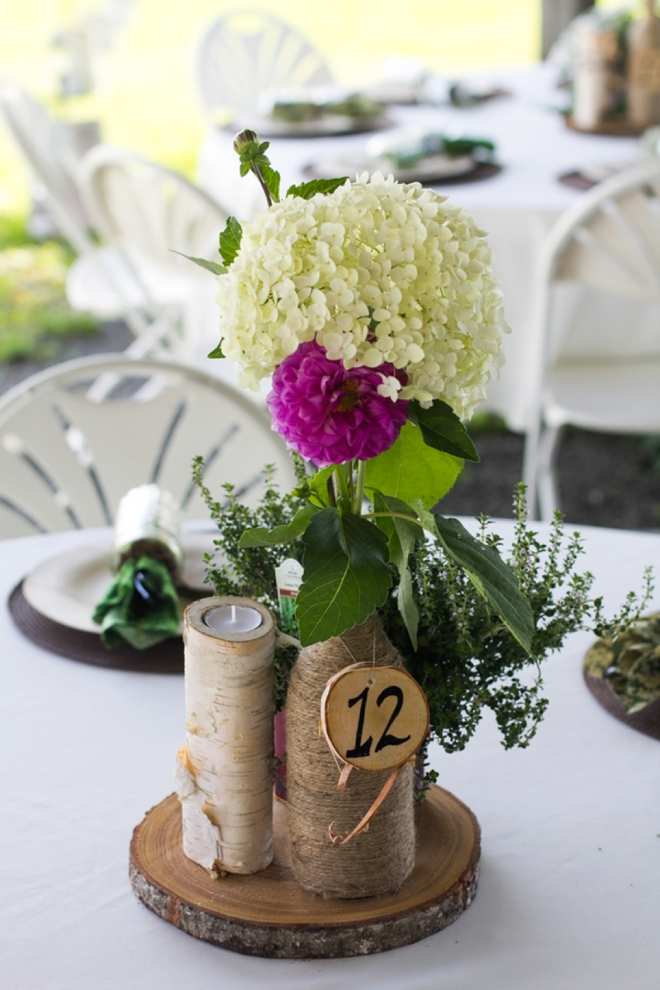 Beautiful DIY mountain wedding table decor