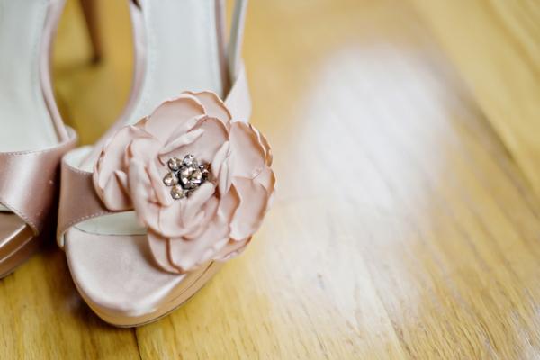 Pale pink Vera Wang wedding shoes
