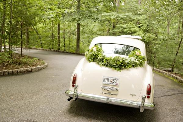 Old car for wedding transportation