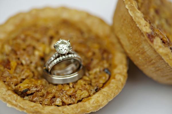 Wedding rings shot on mini-pies