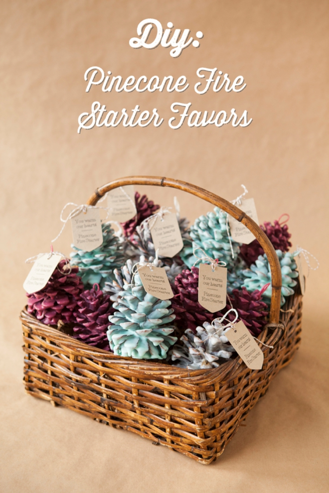 diy how to make pinecone fire starter favors