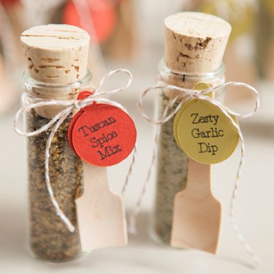 Make your own adorable spice dip mix wedding favors