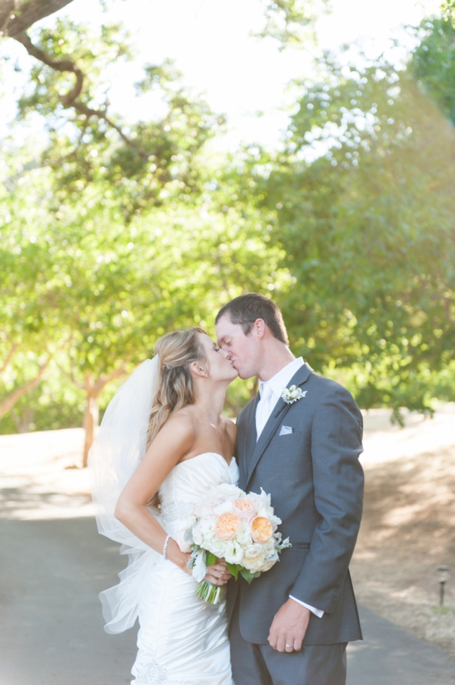 DIY turquoise and peach wedding