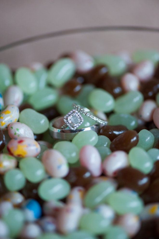 Wedding rings shot in jelly beans
