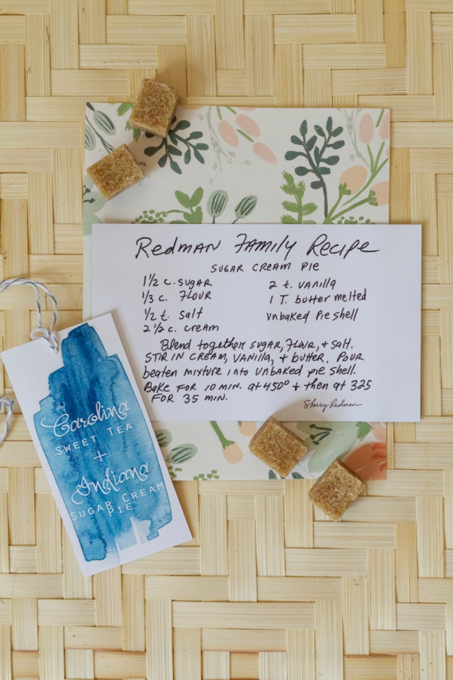 Recipe for pie as a wedding favor!