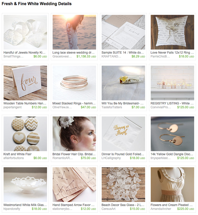 White Wedding Etsy Treasury