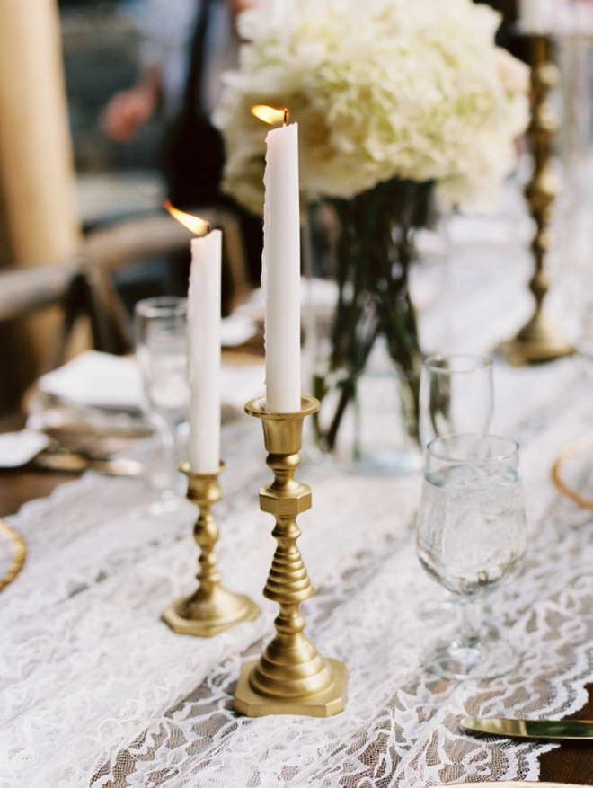 Spray painted gold candlesticks
