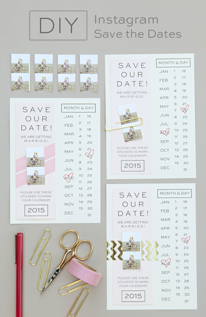 Diy Calendar Save The Date : Make your own instagram save the date invitation