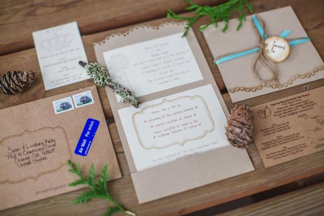 Rustic chic DIY wedding invitations