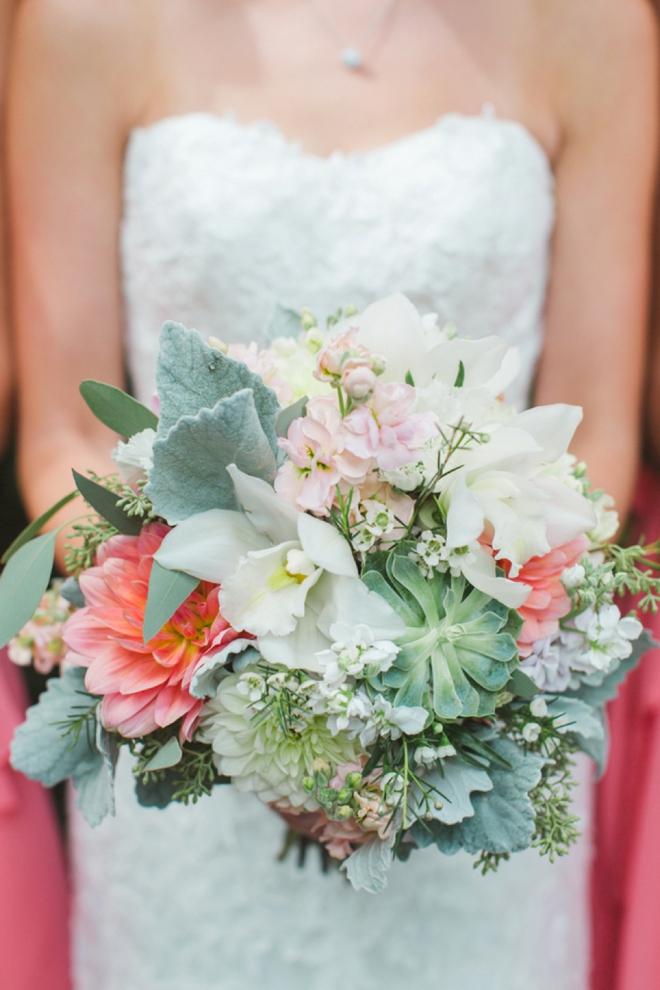 Gorgeous bridal bouquet with succulents, dahlias and eucalyptus