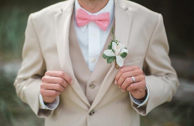 Khaki and pink groom