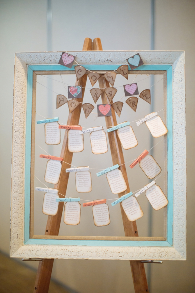 Mason jar tag seating chart