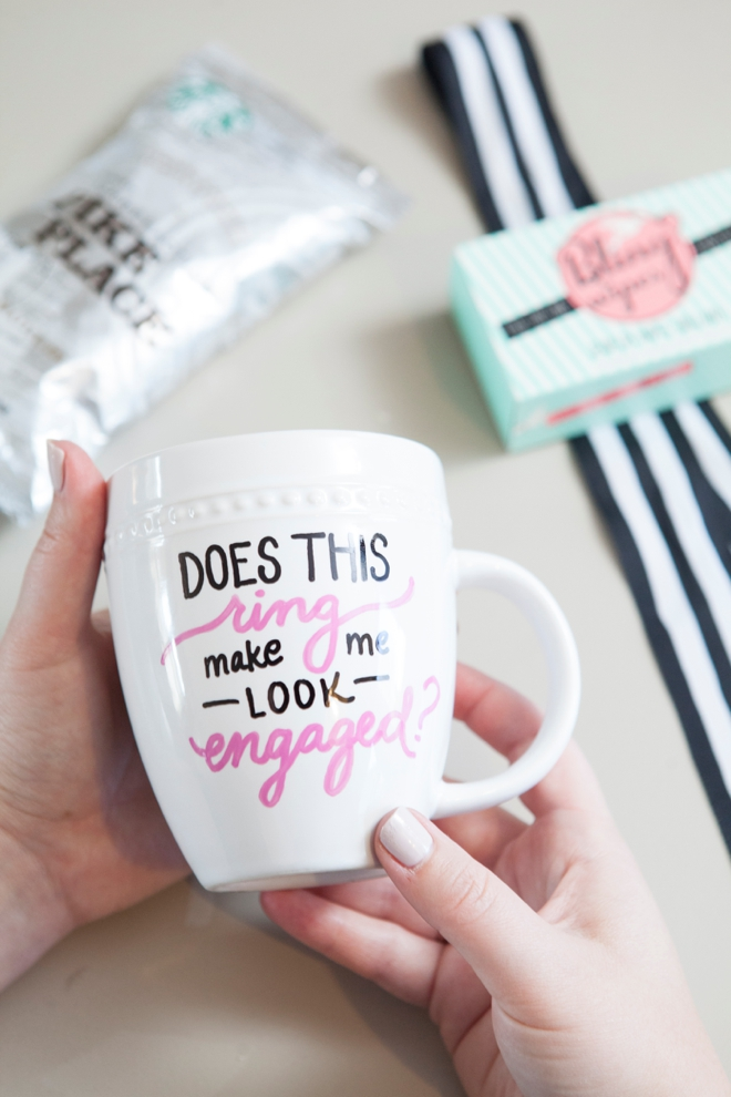 DIY Sharpie Paint Pen Mug - Engagement Gift idea!