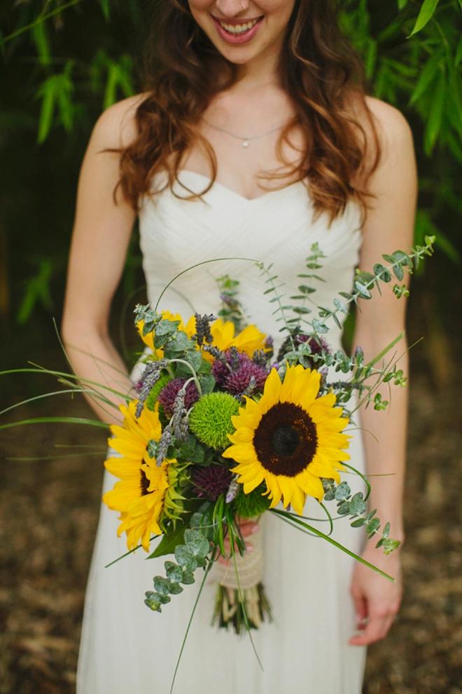 Lovely sunflower wedding bouquet