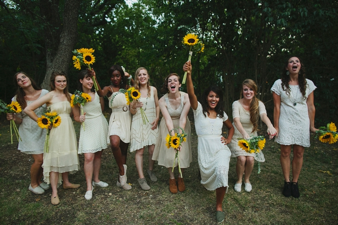 Super fun boho-bridesmaids