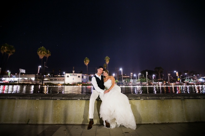 Late night bride and groom shot