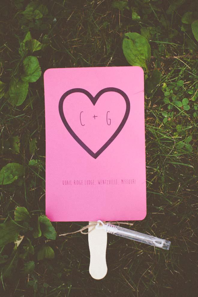 Hot Pink wedding program fan