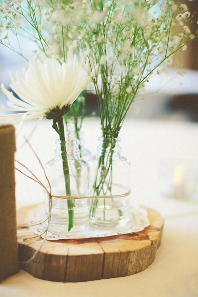 Tree stump centerpieces