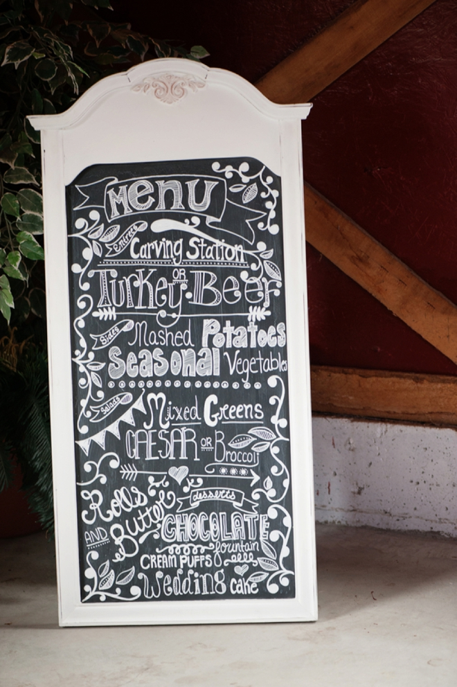 Hand drawn chalk menu sign