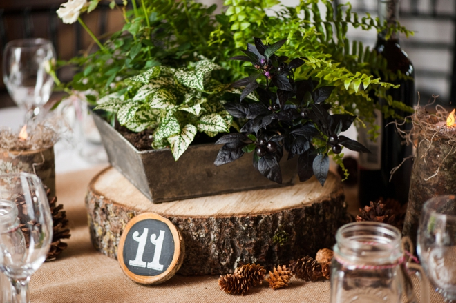Beautiful, rustic DIY mountain wedding table decor