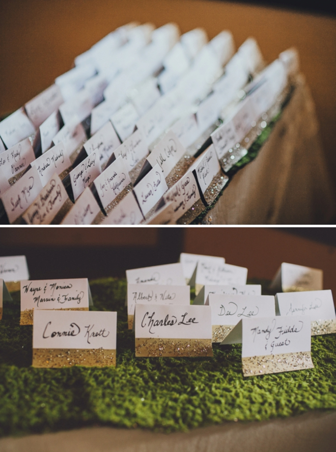 Glittered escort cards